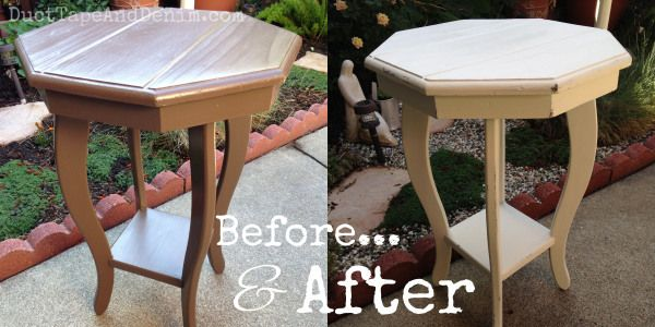 Before and after photos of an octagon table I painted with CeCe Caldwell's Vintage White   DuctTapeAndDenim.com