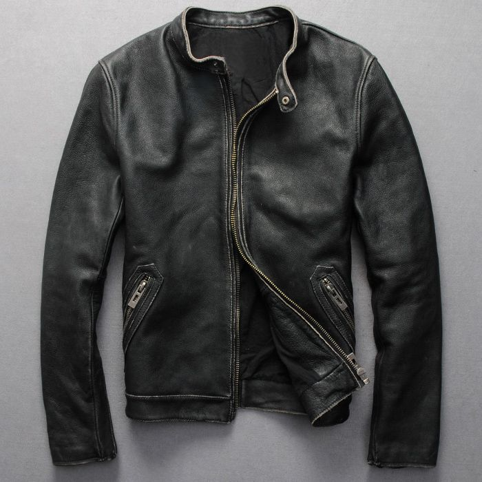 Aliexpress Com Buy Factory Men Leather Jacket Genuine Real Calf Cow Skin Brand Vintage Retro Male B Leather Jacket Men Jackets Men Fashion Mens Leather Shirt