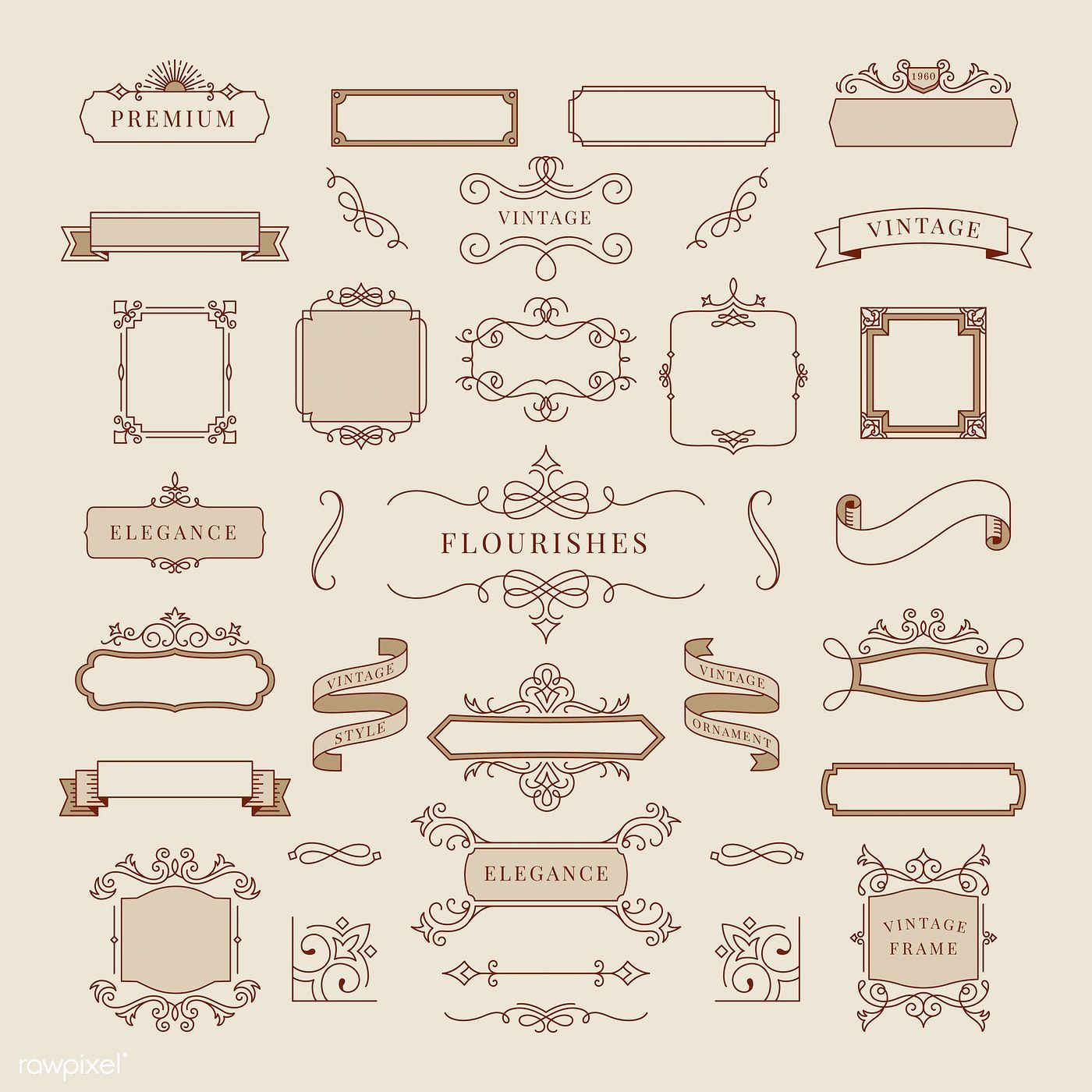 Collection Of Vintage Ornament Frame Illustration Free Image By Rawpixel Com Manotang Ornament Frame Vintage Frames Vector Vintage Ornaments