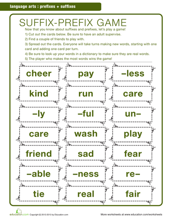 Universal image in prefixes and suffixes printable games