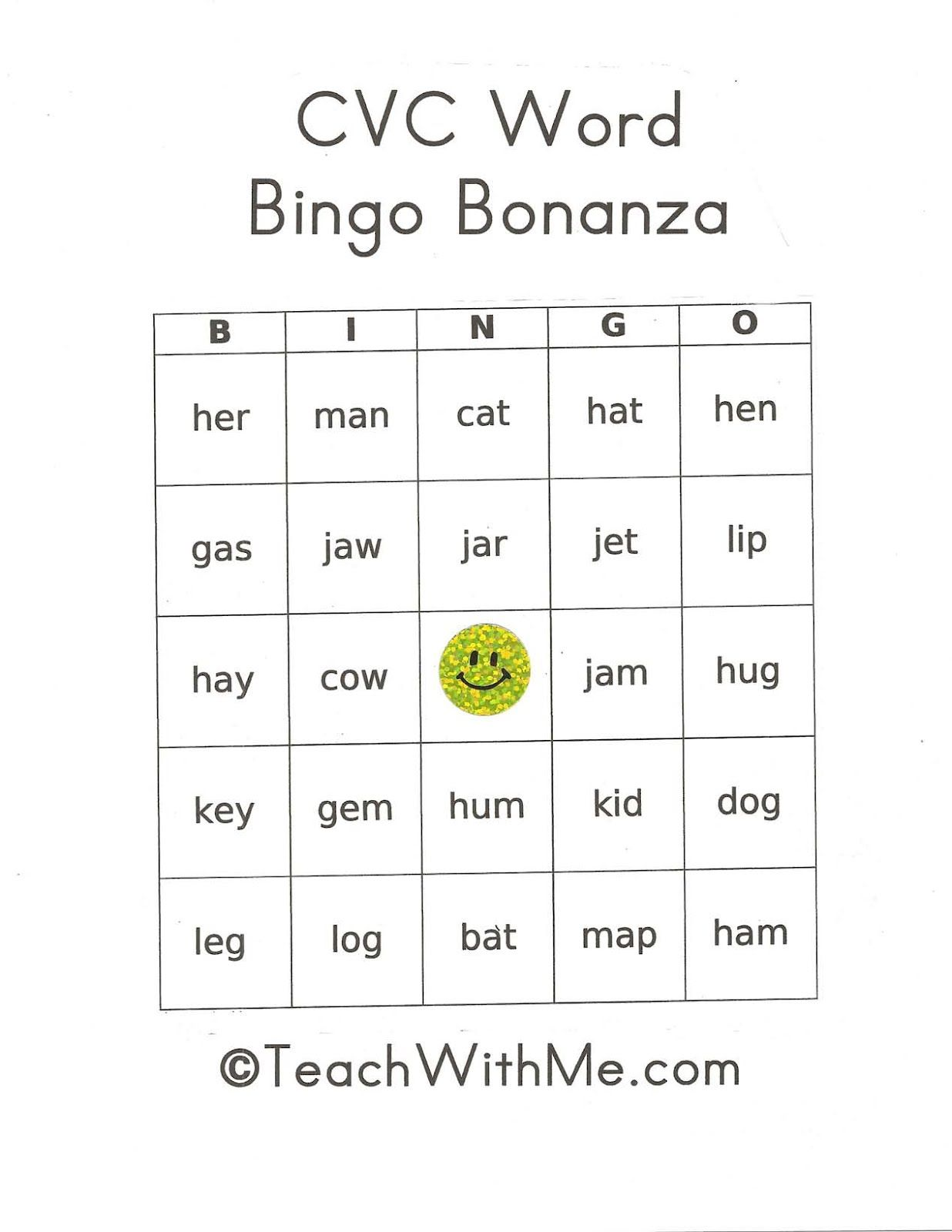 Pk 2 Cvc Words Bingo Game