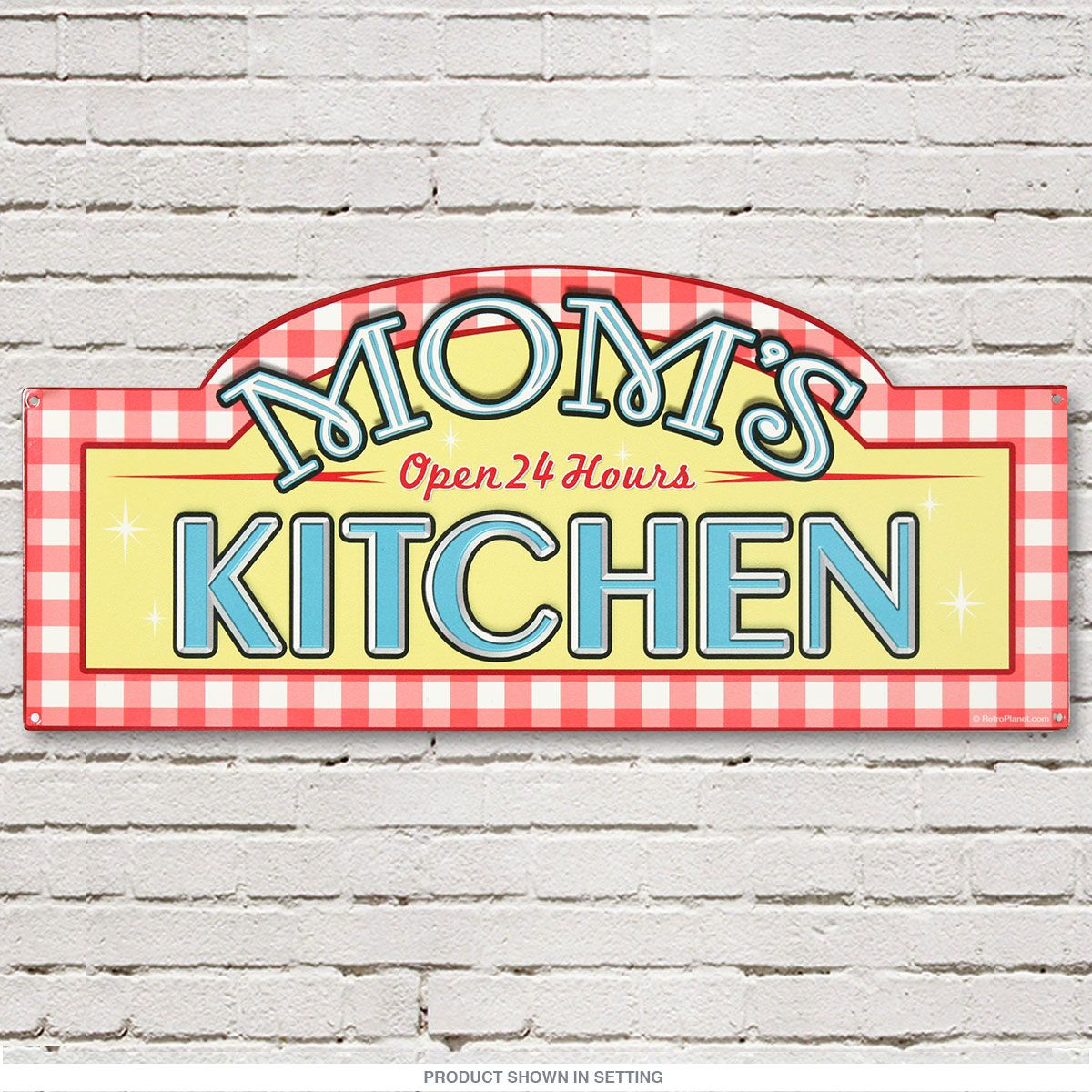 Moms Kitchen Open 24 Hours Vintage Metal Sign