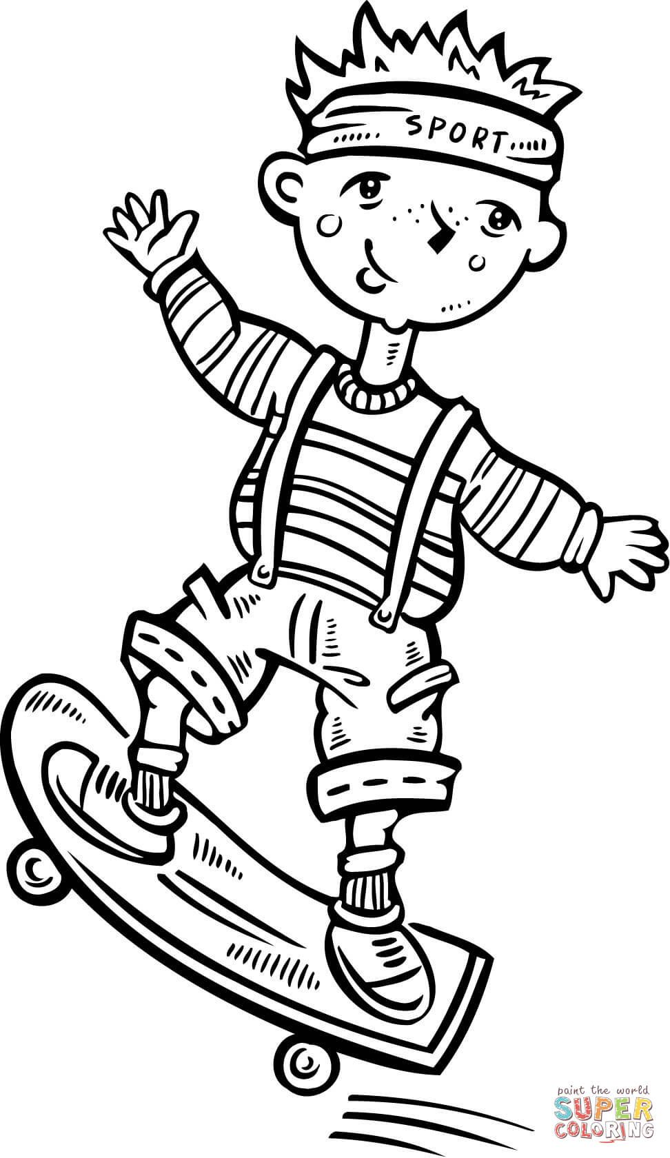 Child Riding a Skateboard coloring page Free Printable