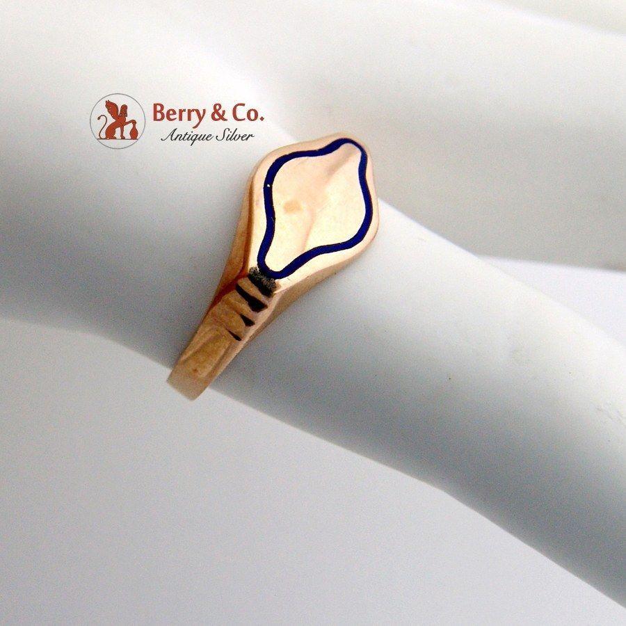 Vintage Blank Signet Ring 18 K Rose Gold Blue Enamel | eBay | A ...