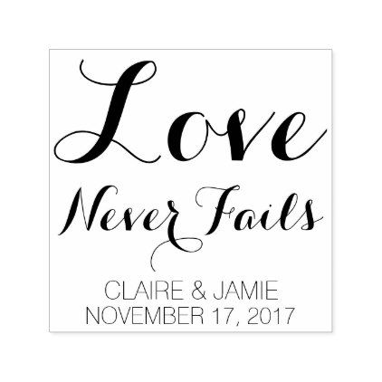 Love Never Fails Quote Romantic Save The Date Self Inking Stamp   Elegant  Gifts Gift