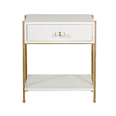 a side table with one large drawer in a faux bone lacquered finish