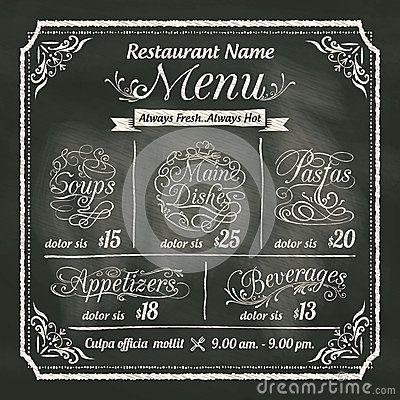 restaurant-food-menu-design-chalkboard-background-vector-template ...