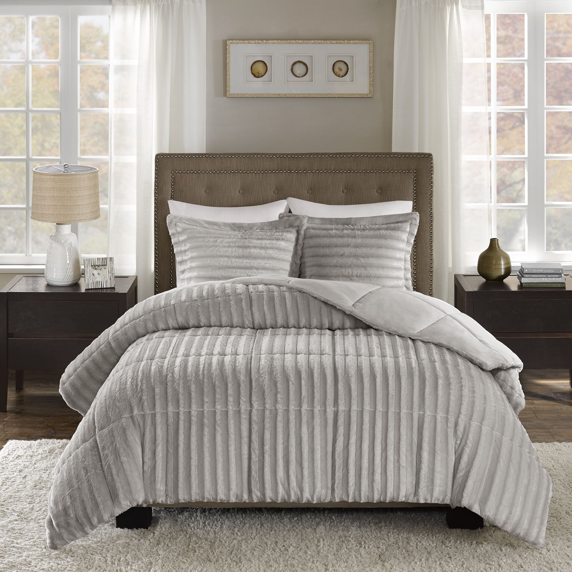collection bed juneau fur white runner pin table saro bedding faux
