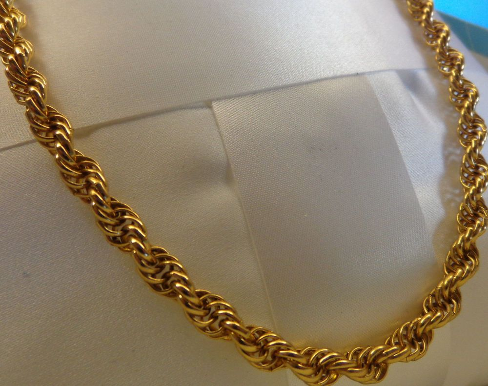 Vintage Golden Monet Twisted Rope Chain Necklace Designer Signed Classic Jewelry Monet