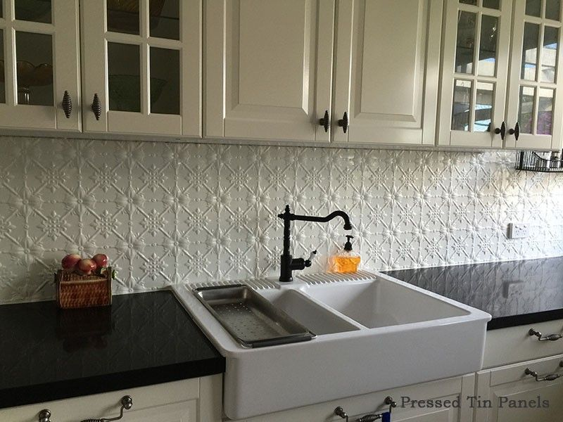 Image example of original pattern of pressed tin panels as for Sink splashback ideas