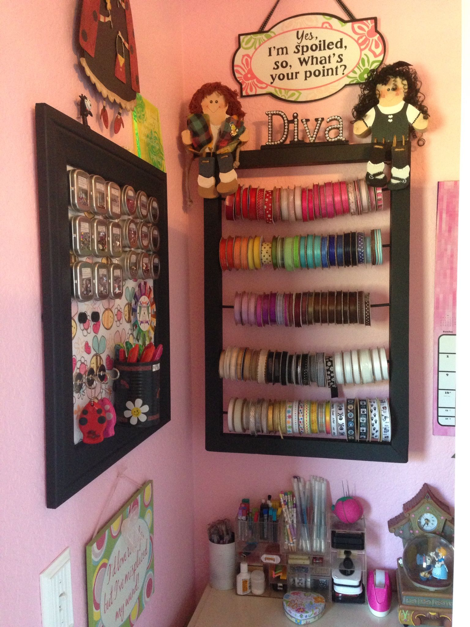 Magnetic craft board - Craft Room Storage Ideas Ribbon Holder And Magnetic Embellishment Board I Have In My Craft