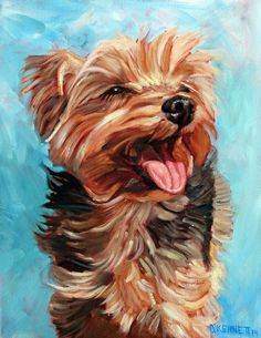 Art Ed Central loves A happy Yorkshire Terrier in the sun. Another custom dog painting by David Kennett at www.bffpetpaintings.com