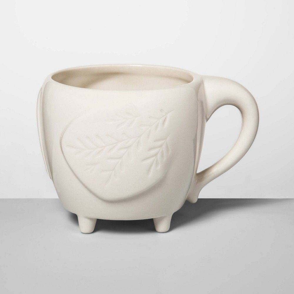 Coffee Mug Tea Cup Porcelain TARGET HOME Beaded Collar White 14oz