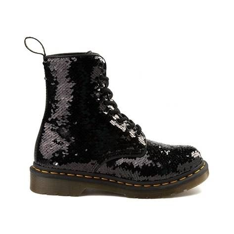 0e6faddca8f6 Womens Dr. Martens Pascal 8-Eye Two-Tone Sequin Boot - black - 569868