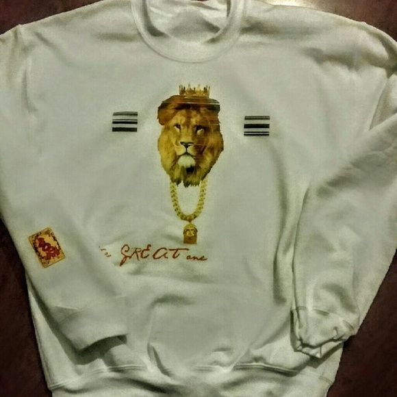 Lions White Crewneck Vintage Headed King Lion Crew Next Sweaters Crew & Scoop Necks