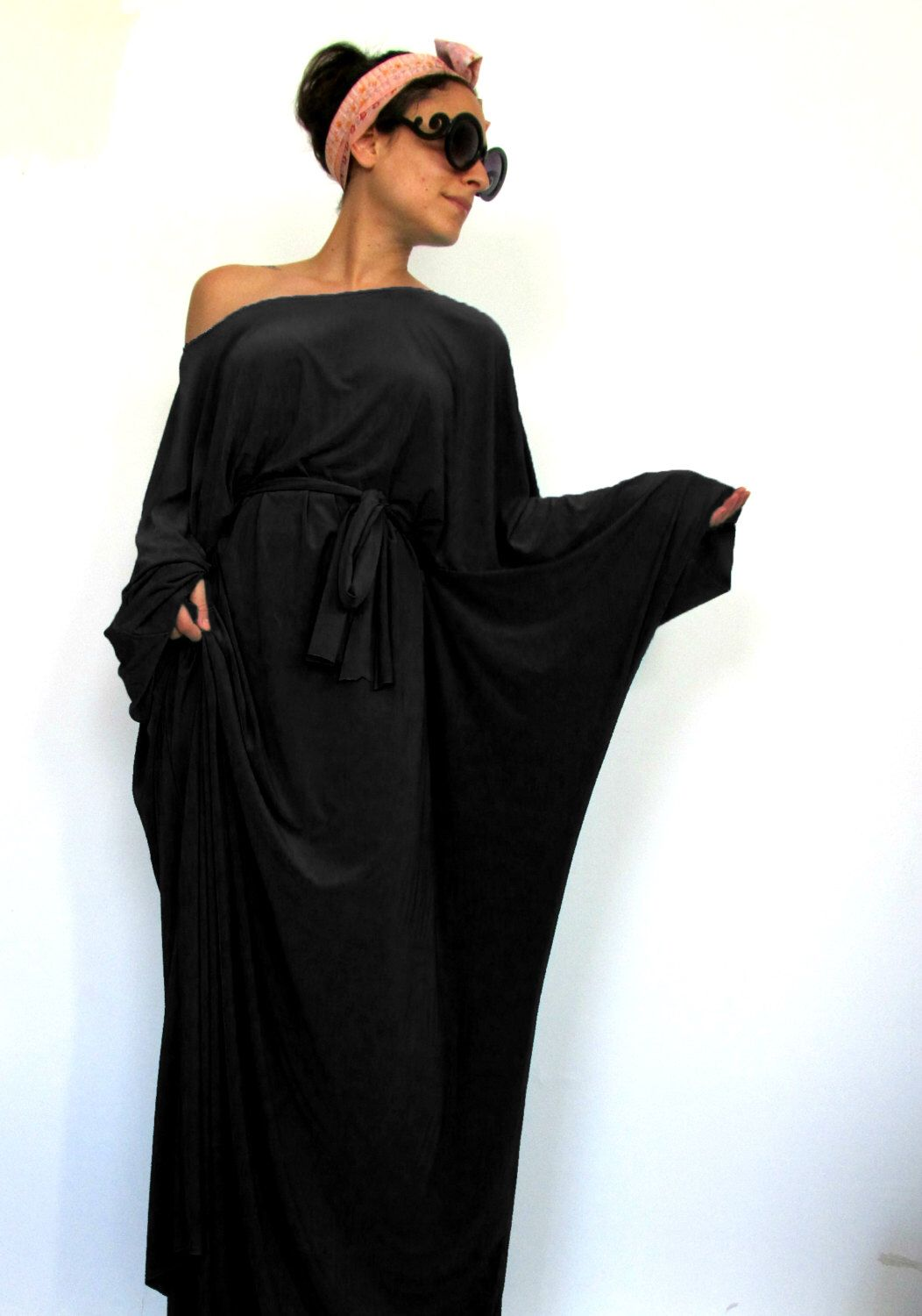 Black Tokyo Glam Maxi Dress Plus Size Evening Gown Long Sleeve
