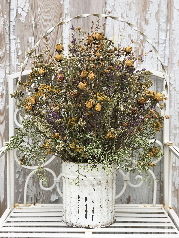 Dried Flower Floral Arrangement in Antique Tin Basket Filled