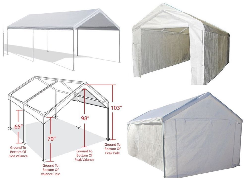 Caravan Canopy 10 X 20 Domain Carport Garage Sidewall Enclosure Car Shelter  sc 1 st  Pinterest & Outdoor Carport Canopy Car Shelter Frame Portable Garage Cover ...