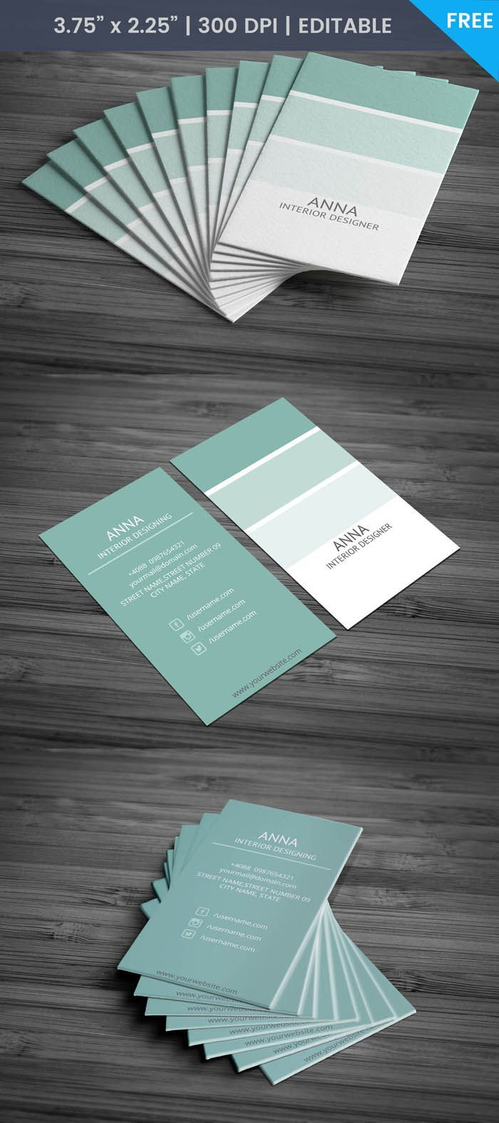 Free interior designer business card template freeinteriordesign also rh pinterest