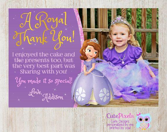 Sofia the first thank you card Princess Sofia Thank you card – Thank You Cards First Birthday