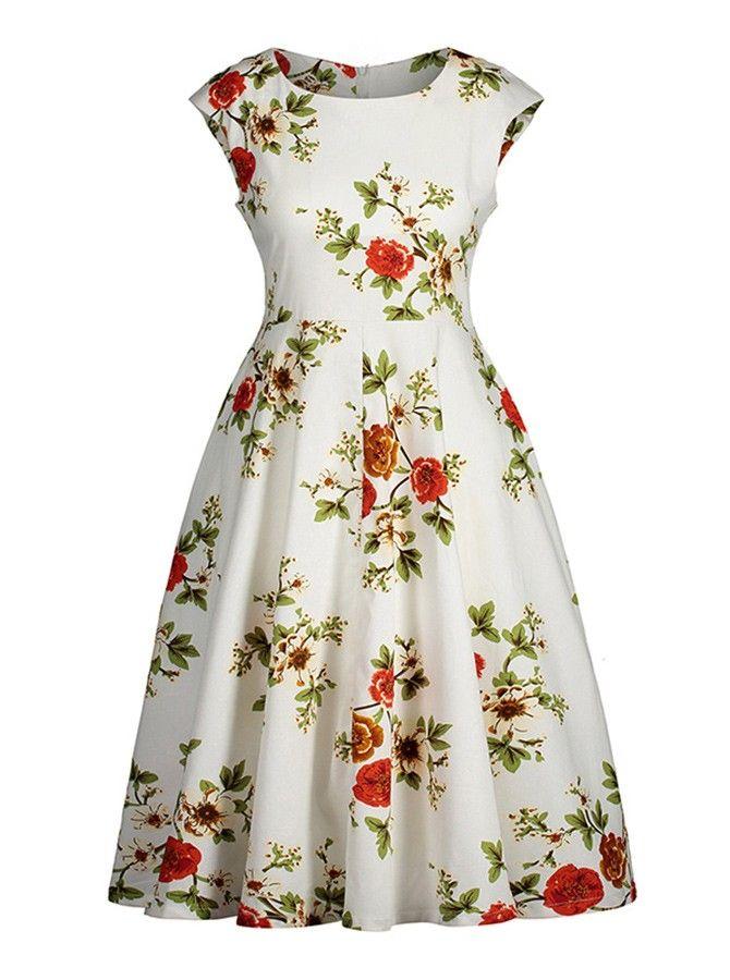 Floral Round Neck Cap Sleeves Plus Size Vintage Dress Brand