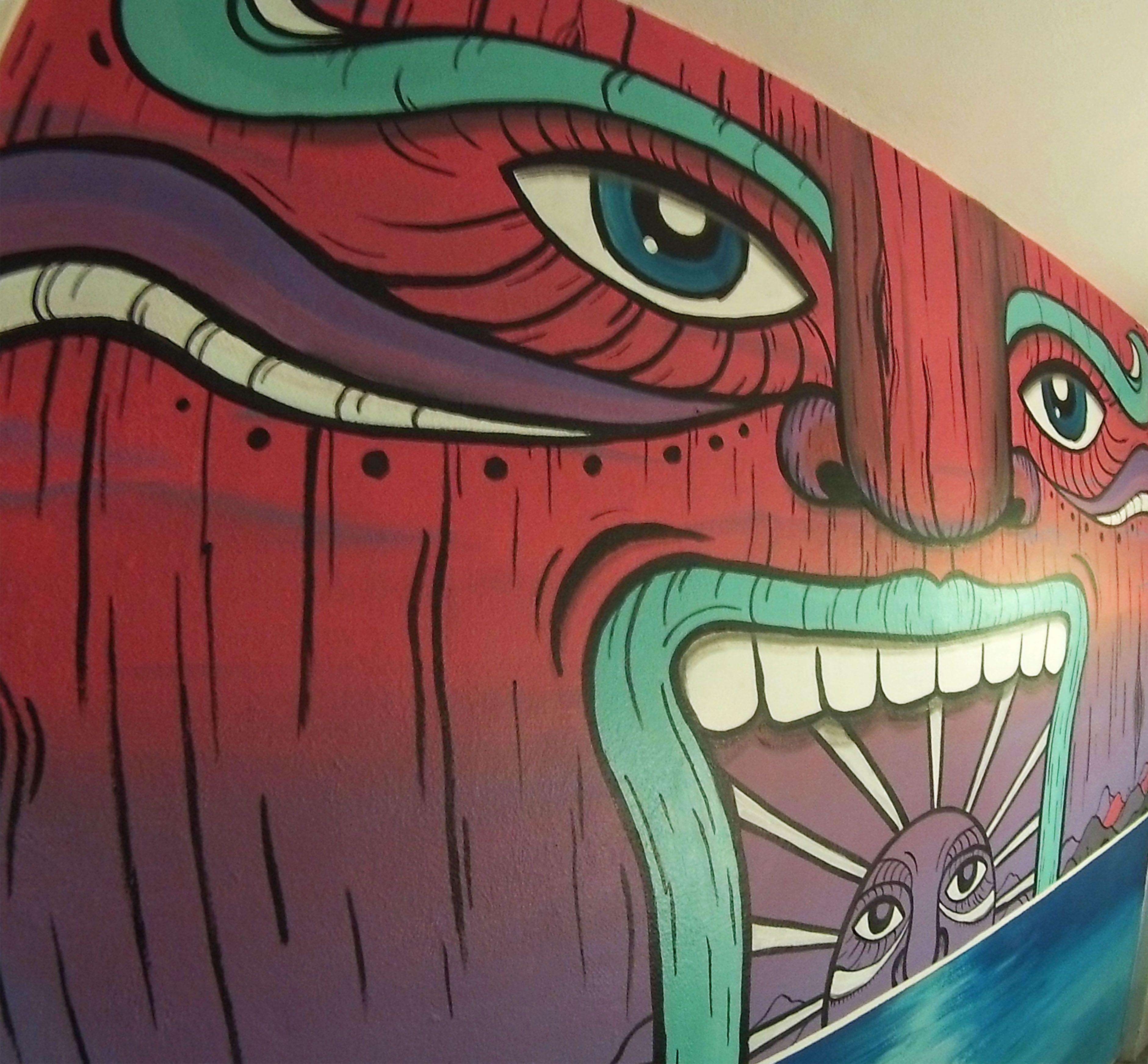 Mural Surf Art Tiki Man Mister Escobar Arte Surfing Surfart  # Papeleria Dabo Muebles