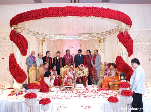 Indian Wedding Tradition Mandap Red White Floral  Http://maharaniweddings.com/gallery