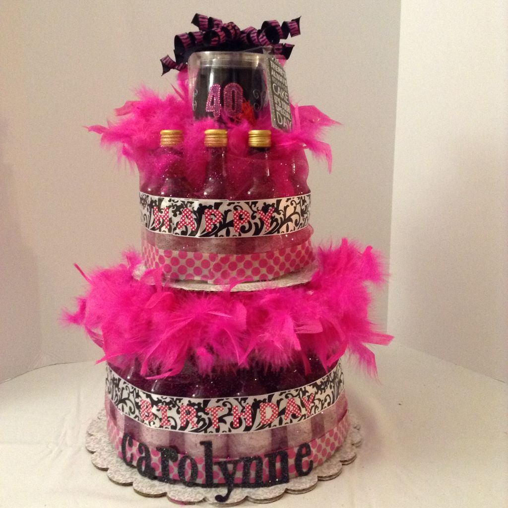 Decorated Alcohol Bottles For Birthday: WINE CAKE************ Made A Variation On The Diaper Cake