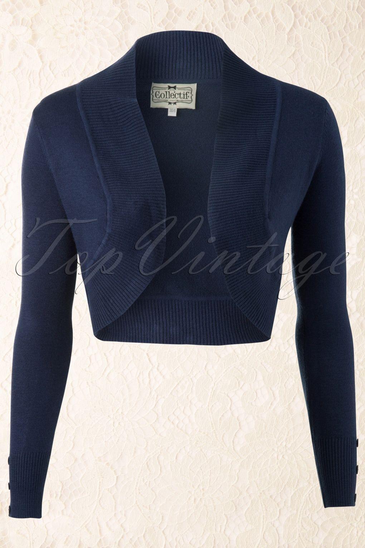 Collectif Clothing - Jean knitted Bolero in Navy Boleros 51ab668fb62e