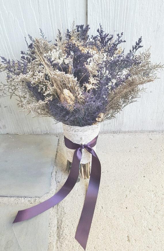 Purple Wildflower Dried Flower Bouquet Lavender Wheat Caspia Etsy In 2020 Dried Flower Bouquet Alternative Bouquet Purple Wildflowers