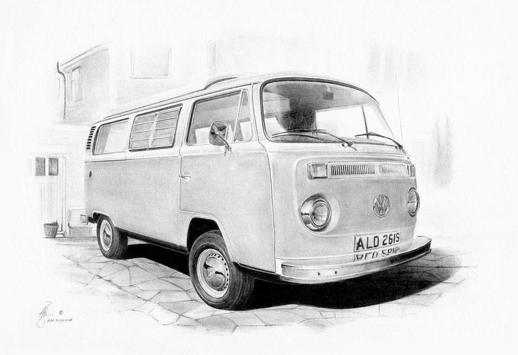 VW Split Window Bus  Camper Customized Pencil Drawing Print