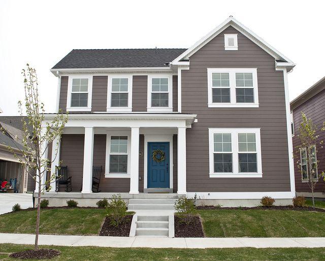 Blue door white trim smokey gray brown siding love the for White house green trim