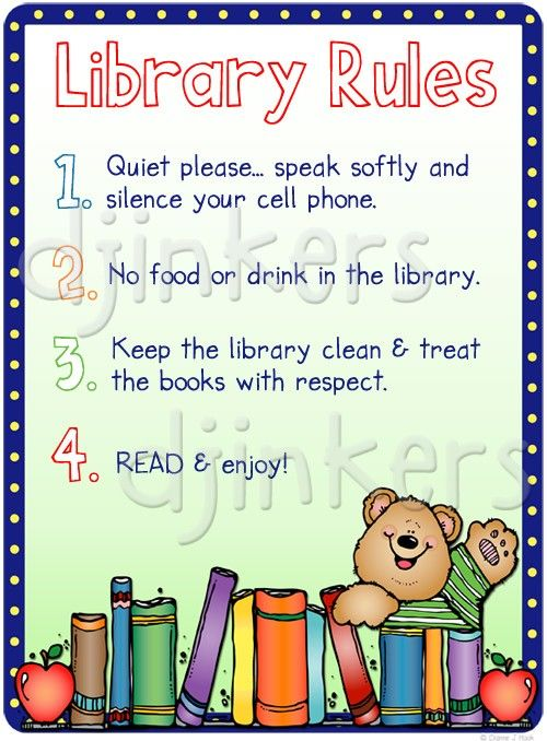 library rules poster book border