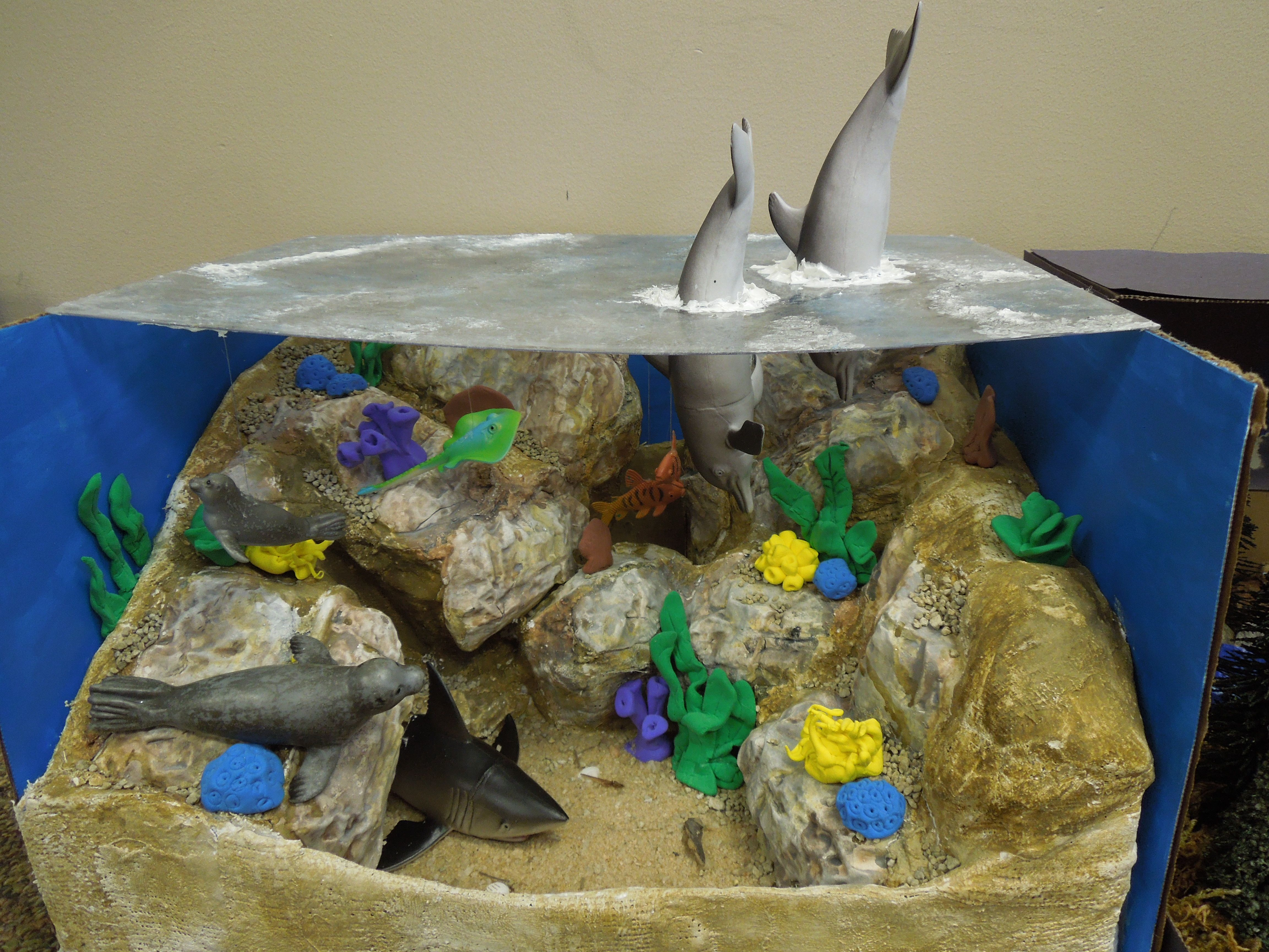 Second graders made a diorama to show an animal habitat for Habitat container