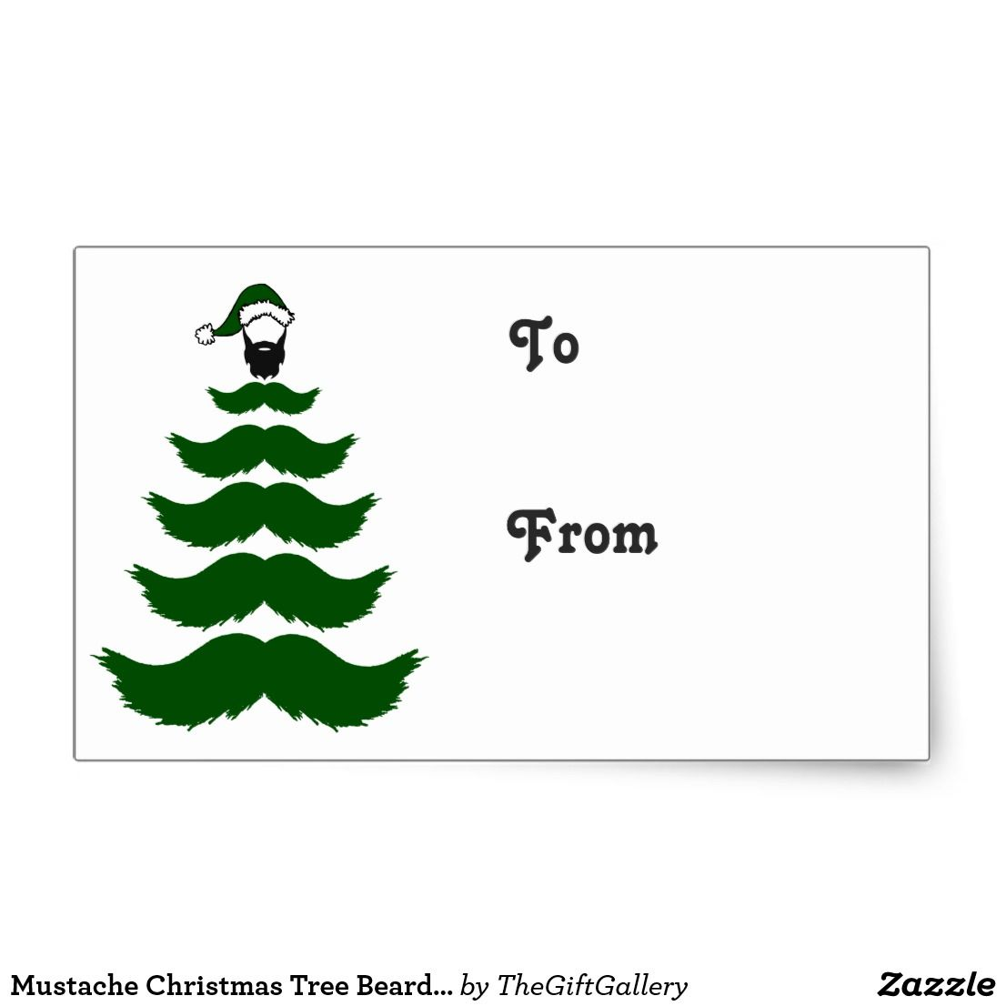 Mustache christmas tree beard man topper green rectangular sticker funny christmas gift tags for men