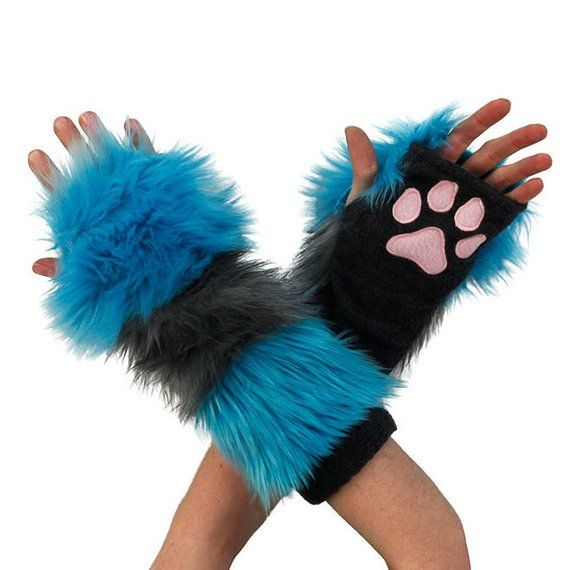 Pawstar Striped Cheshire Cat Paw Warmers Fingerless Gloves Arm