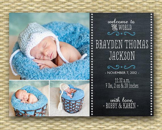 chalkboard birth announcement baby announcement baby boy birth