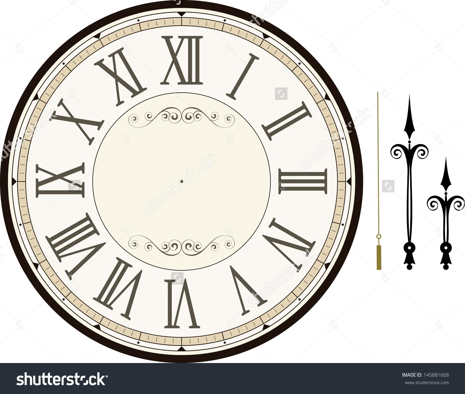 Vintage Clock Face Template With Hour Minute And Second Hands To