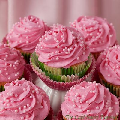 Perfect White Cupcakes (IN PINK) w/ Best-Ever Buttercream Icing (IN PINK!) for Lilly