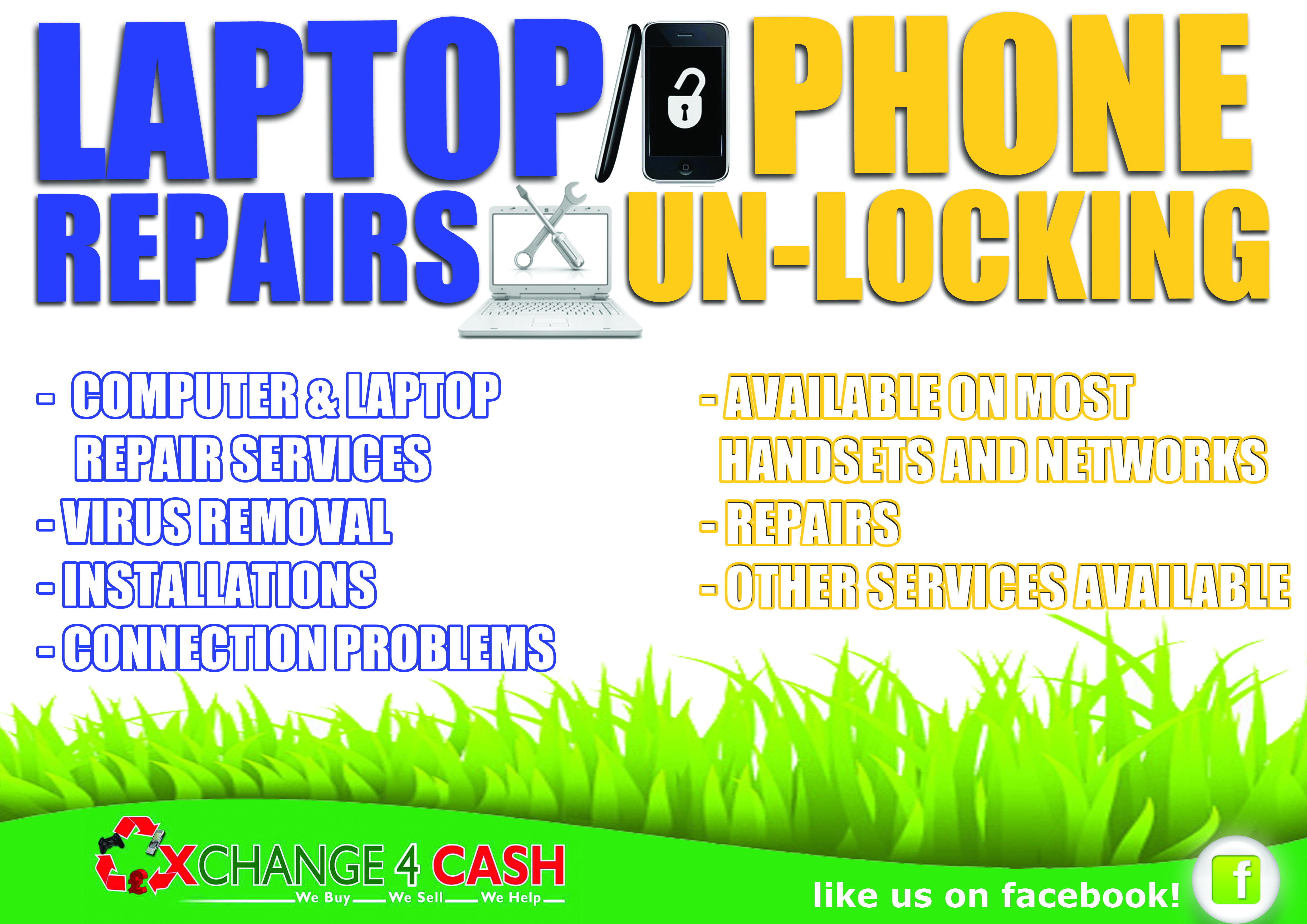 We also do Laptop and Phone repairs, so designed a poster to show this