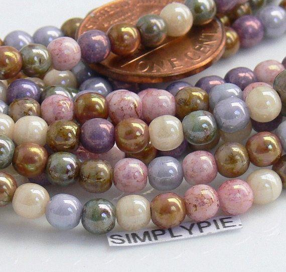 100 Czech Glass Round Beads Milky Yellow 4mm