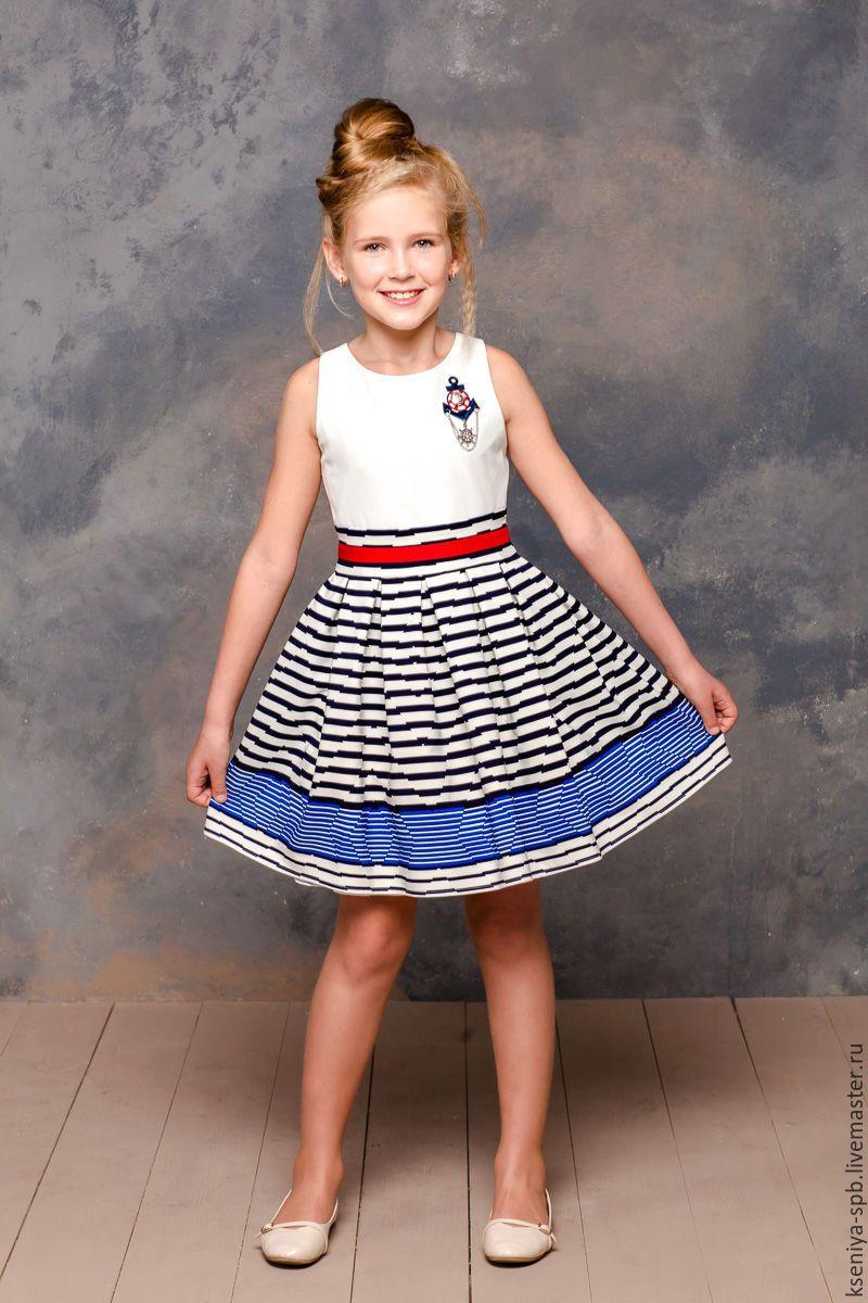 Купить Платье для девочки летнее, морской стиль -