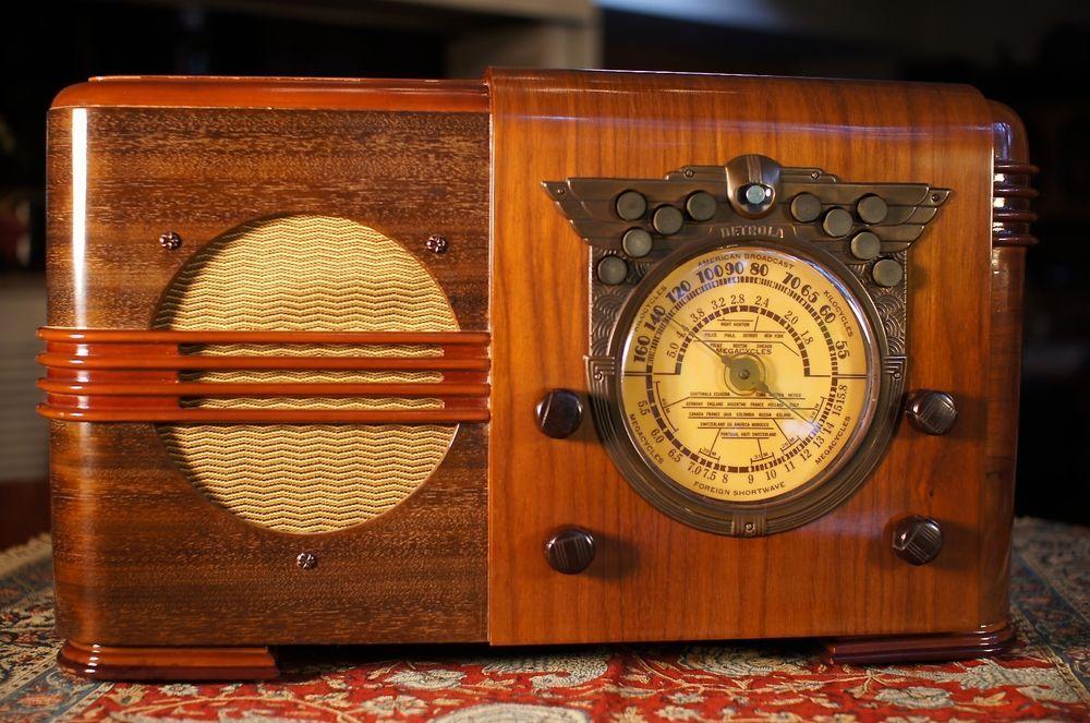 Antique Detrola Vintage Tube Radio Art Deco Restored And Working 1 Year Warrant Antique Radio Vintage Radio Retro Radios