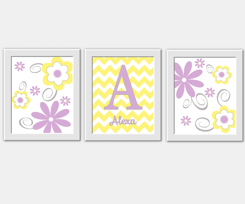 Personalized Baby Nursery Wall Art Lavender Yellow Flower Bursts ...