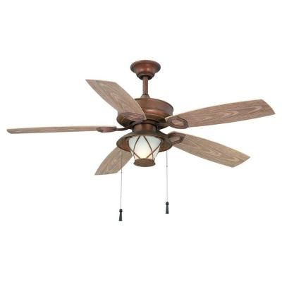 Hampton Bay Glacier Bay 52 In Indoor Outdoor Rustic Copper Ceiling Fan With Light Kit 14938 The Home Depot Copper Ceiling Fan Rustic Ceiling Fan Ceiling Fan