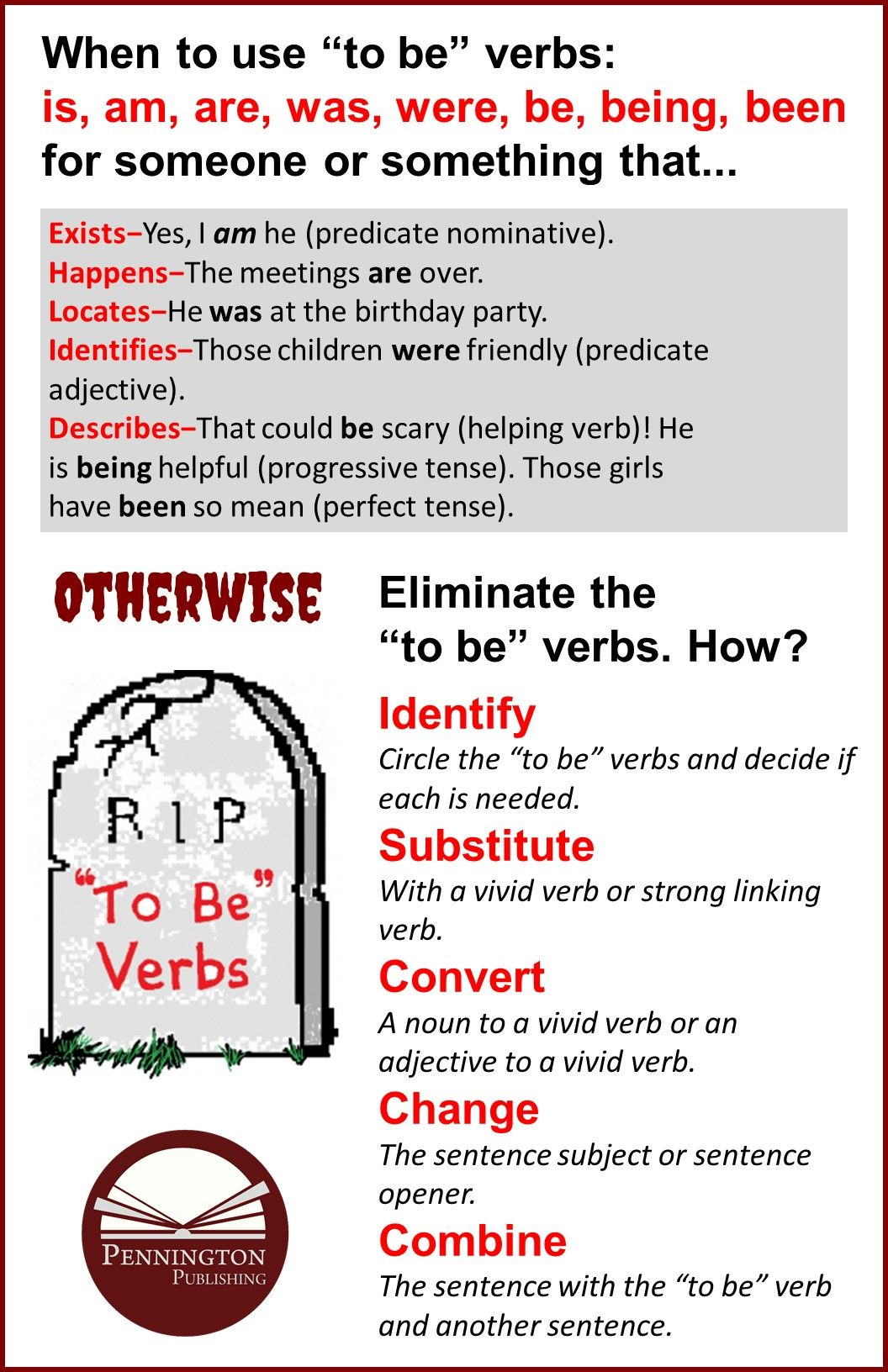 How To Eliminate To Be Verbs In Writing Pennington Publishing Blog Teaching Reading Strategies Reading Intervention Teaching Spelling [ 1632 x 1056 Pixel ]