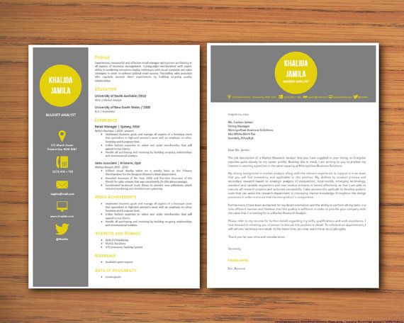 Modern Microsoft Word Resume and Cover Letter Template - Khalida - cover page letter for resume