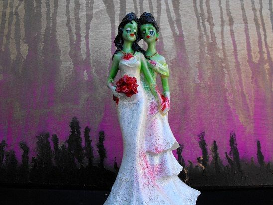 Zombie Wedding Gifts: Zombie Wedding Cake Topper Two Women By Dnacreations On