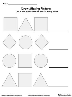 Draw The Missing Shape To Complete The Pattern Pattern Worksheet Shape Worksheets For Preschool Math Patterns