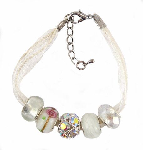 Organza and Cotton Cord Bracelet with Bead Charms - Pink, White and Ivory (B382)